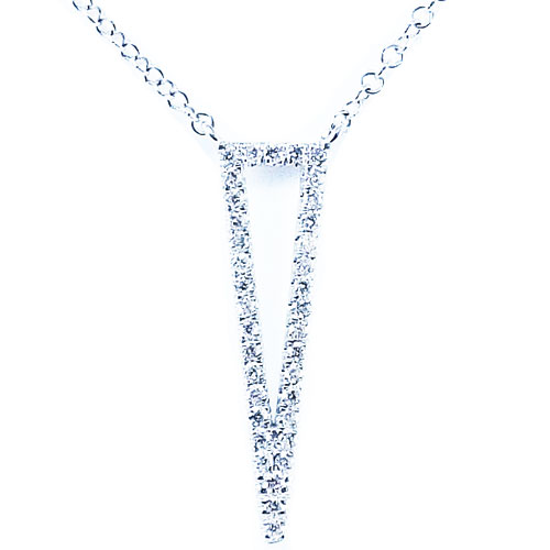 "Gabriel & Co. 14K White Gold Lariet Style 1/5 ct tw Diamond Necklace 16"" Chain"