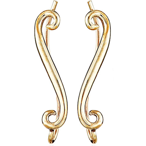 14K Yellow Gold Swirl Ear Climbers earrings