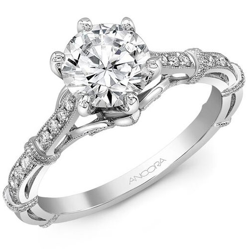 14K White Gold 1/7 ct tw Engagement Ring Mounting Only