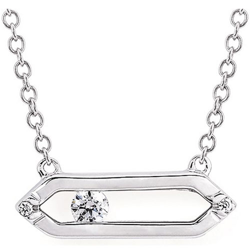 "14K White Gold Diamond Bar Pendant, 18"" Chain Attached"