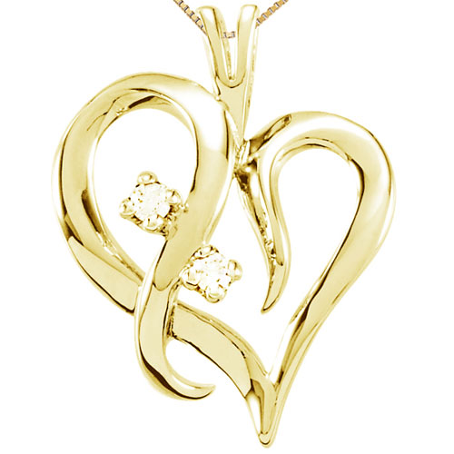 "10K Yellow Gold 1/20 ct tw Diamond Heart Pendant, with 18"" Chain"