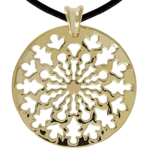 """14K Yellow Gold Resin Filled Mosaic Disk Pendant, with 18"""" Cord"""