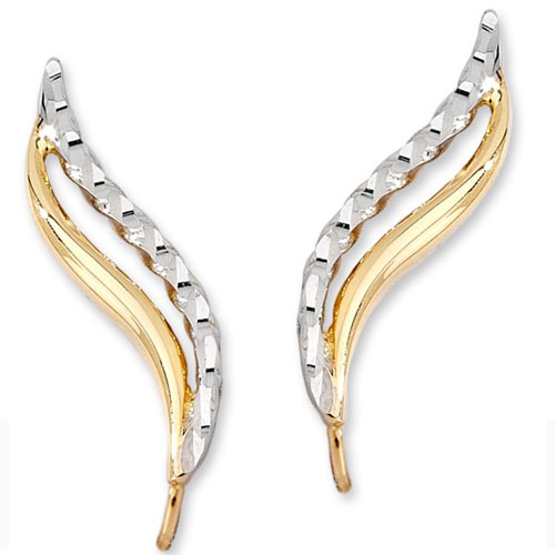 14K Yellow & White Gold Diamond Cut Ear Climbers