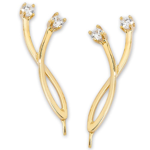 14K Yellow Gold Cubic Zirconia Ear Climbers