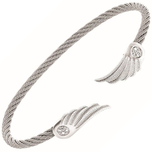 Sterling Silver Diamond Angel Wing Cable Bracelet