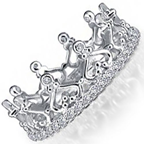 Sterling Silver Simulated Diamond Eternity Crown Ring