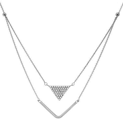 """Necklace Sterling Silver Cubic Zirconia 18"""" Necklace"""
