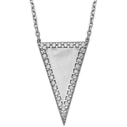 "Midas Sterling Silver Cubic Zirconia Pendant. 18"" Chain Included."