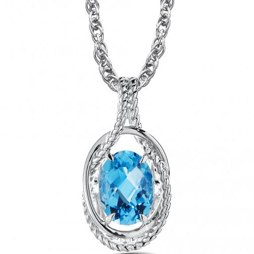 """Sterling Silver Blue Topaz Pendant with 18"""" Chain"""