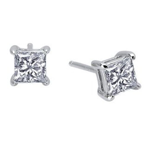 Lafonn Sterling Silver Simulated Diamond Princess Cut Earrings