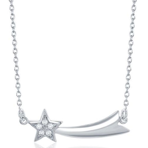 """Sterling Silver Cubic Zirconia Star Necklace 18"""" Chain"""