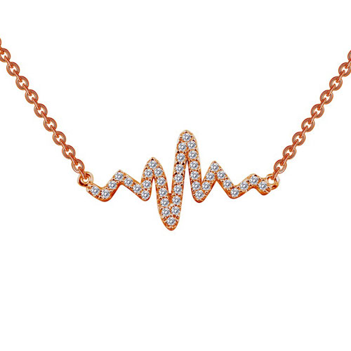 """Rose Plated Sterling Silver Simulated Diamond Heartbeat Necklace 18"""" Chain"""