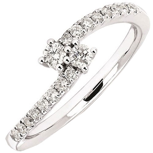 14K White Gold 2 of Us 1/4 ct tw Diamond Ring