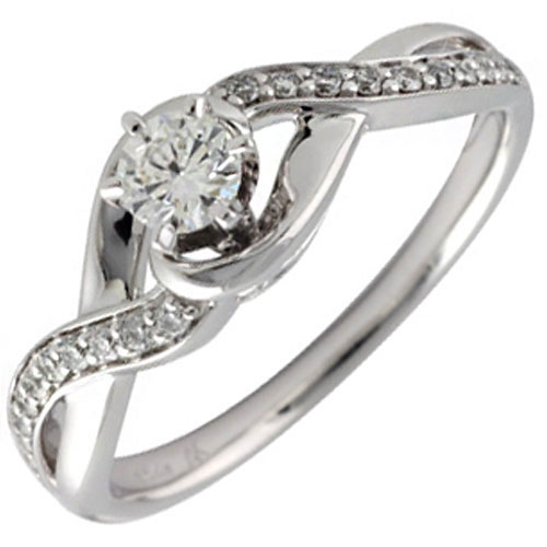 14K White Gold 1/3 ct tw Diamond Engagement Ring, Center Diamond .20ct H-SI2