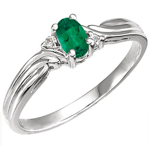 10K White Gold Created Emerald & Diamond Ring