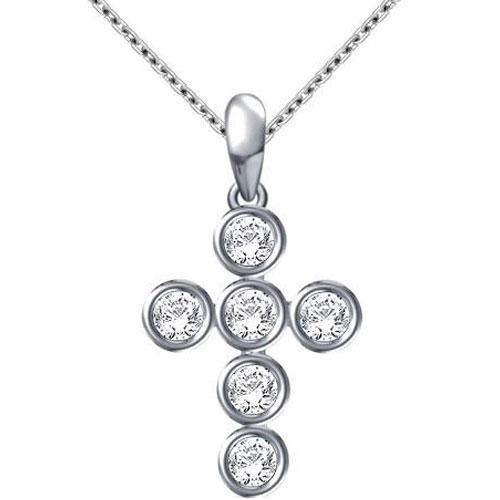 "14K White Gold 1/7 ct tw Diamond Cross Pendant, With 18"" Chain"