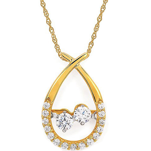 "14K Yellow Gold 1/3 ct tw Two of Us Diamond Pendant, With 18"" Chain"