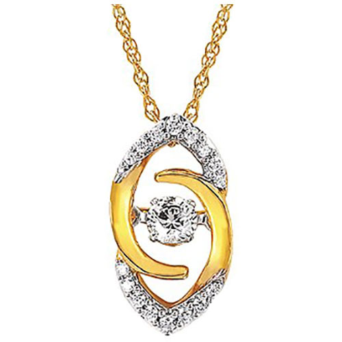 "Pendant 14K Yellow Gold Rhythm of Love 1/20 ct tw Diamond , With 18"" Chain"