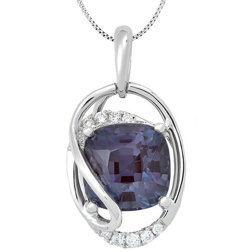 "14K White Gold Chatham Created Alexandrite & 1/20 ct tw Diamond Pendant, With 18"" Chain"