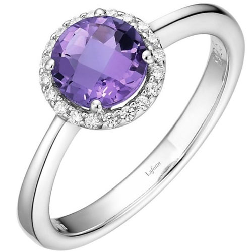 Sterling Silver Amethyst & Simulated Diamond Ring