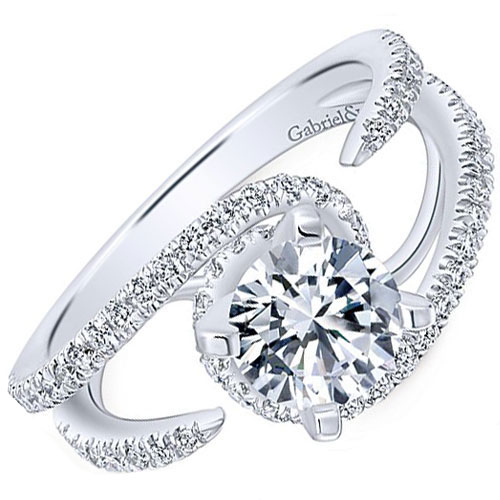 14K White Gold 1/2 ct tw Engagement Ring Mounting Only
