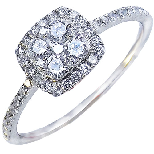 14K White Gold 1/2 ct tw Diamond Ring