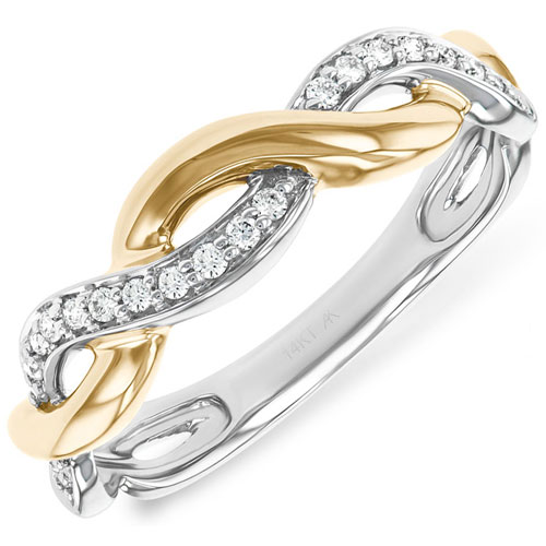 14K Yellow & White Gold 1/10 ct tw Diamond Ring