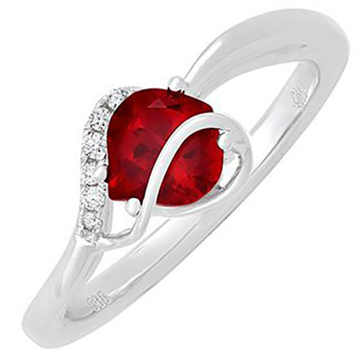 Gemstone 14K White Gold Chatham Created Ruby and Diamond Ring