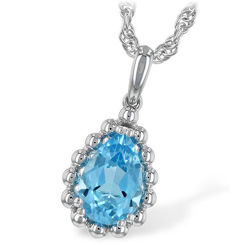 "14K White Gold Blue Pendants Topaz Pendant with 18"" Chain"