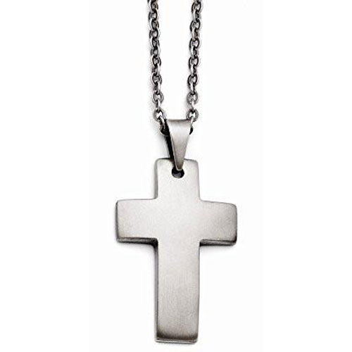 "Stainless Steel Cross with 20"" Chain"
