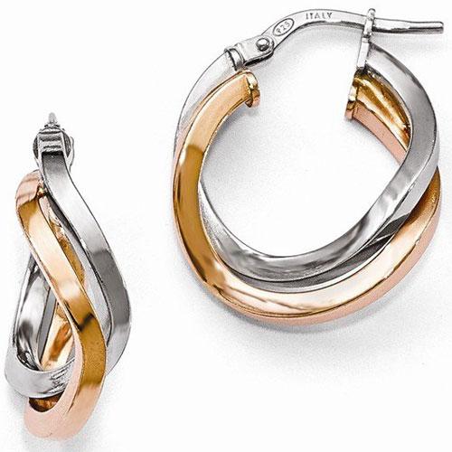 Sterling Silver & Rose Plated Hoop Earrings