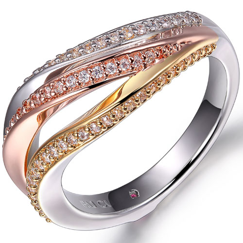 Elle ring in rose, white and yellow gold.