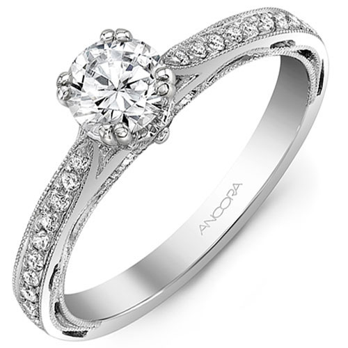 14K White Gold 1/7 ct tw Diamond Engagement Ring Mounting