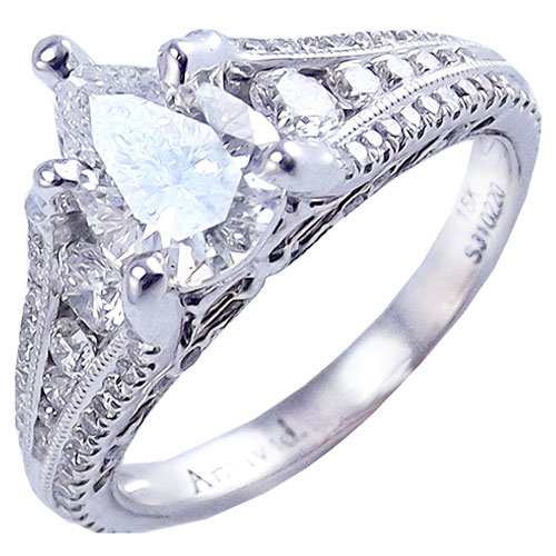 18K White Gold 1 1/2 ct tw Diamond Engagement Ring, Center Diamond 1.00 ct Pear Shape H-SI2