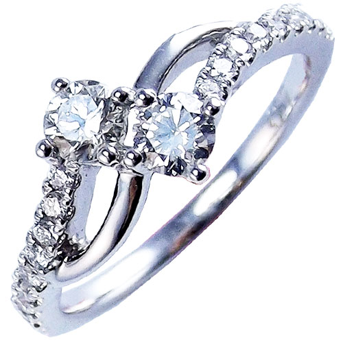 Kattan 18K White Gold 1/2 ct tw 2 of Us Diamond Ring