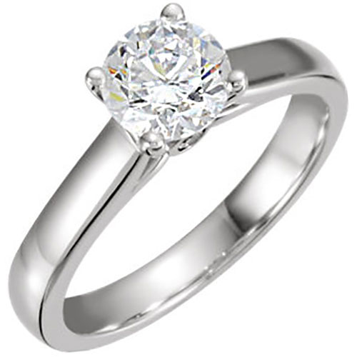 14K White Gold 3/8 ct Diamond Solitaire Engagement Ring, Center Diamond .36 ct Ideal Cut I-I1