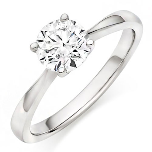 14K White Gold 1/4 ct Diamond Solitaire Engagement Ring, Center Diamond .25 ct H-SI2