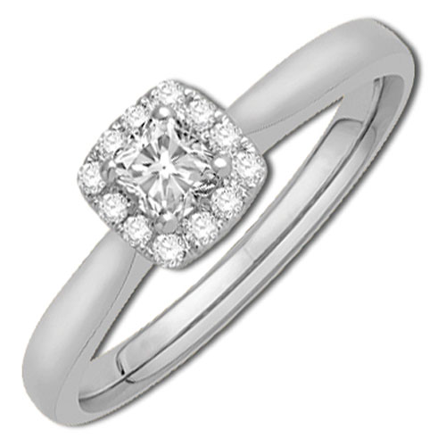 14K White Gold 1/3 ct tw Diamond Engagement Ring