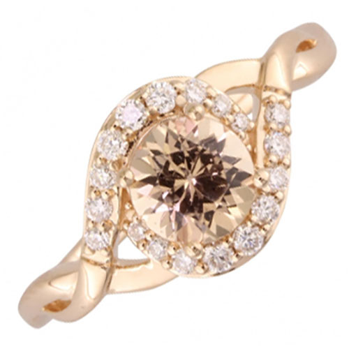 14K Rose Gold Lotus Garnet & 1/5 ct tw Diamond Ring