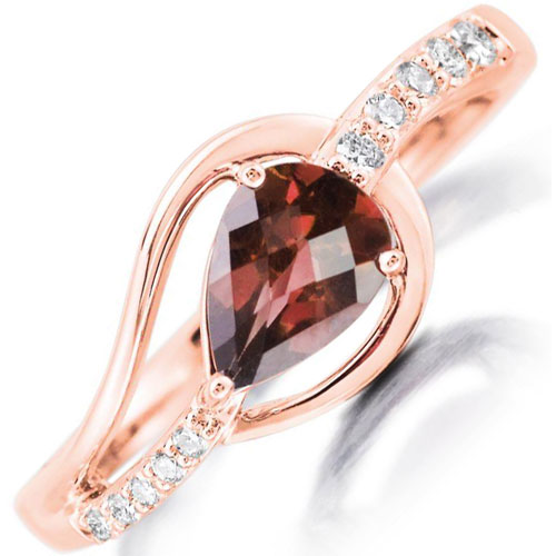 14K Rose Gold Lotus Garnet & 1/10 ct tw Diamond Ring