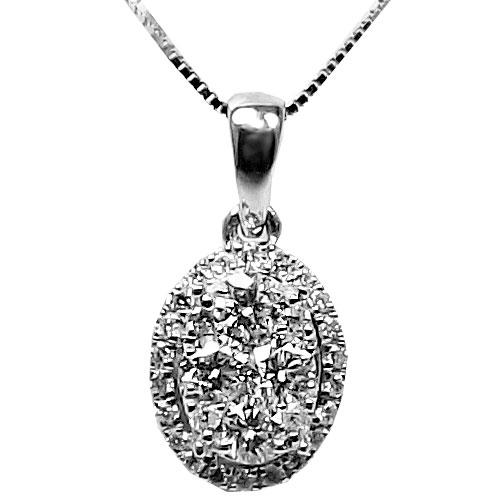 """14K White Gold Cluster Diamond Pendant, with 18"""" Chain"""