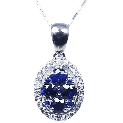 "Gemstone and Diamond Pendant 14K White Gold Sapphire & Diamond Pendant, with 18"" Chain"