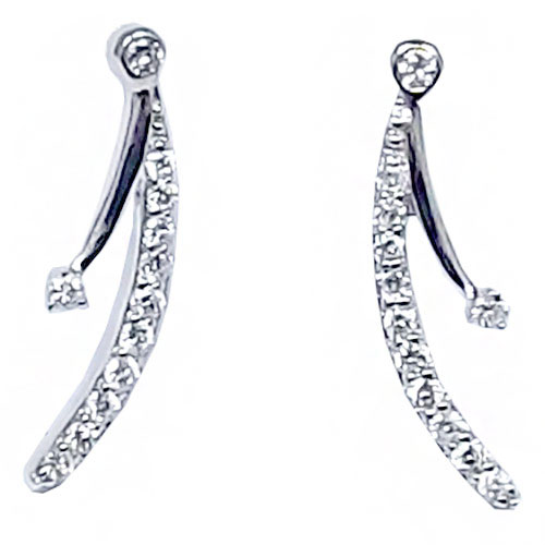 14K White Gold Diamond Ear Climbers