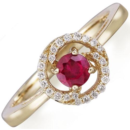 14K Yellow Gold Ruby & 1/10 ct tw Diamond Ring