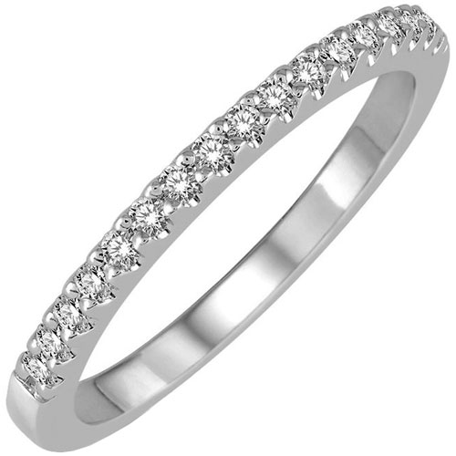 14K White Gold 1/7 ct tw Diamond Band
