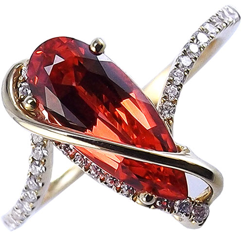 14K Yellow Gold Chatham Created Padparadscha and Diamond Ring
