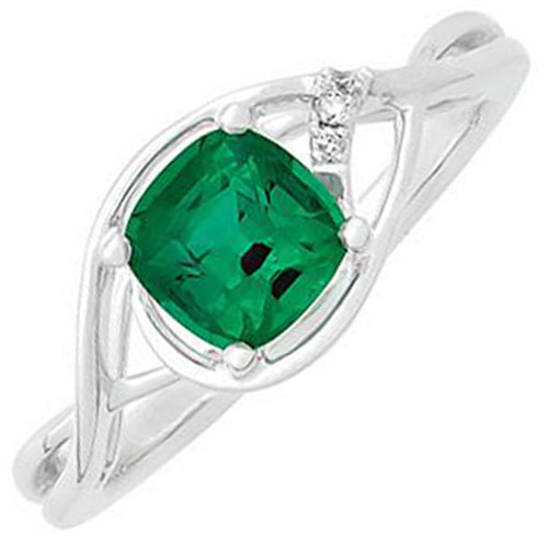 14K White Gold Chatham Created Emerald and Diamond Ring
