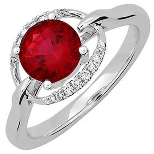 14K White Gold Chatham Created Ruby and Diamond Ring