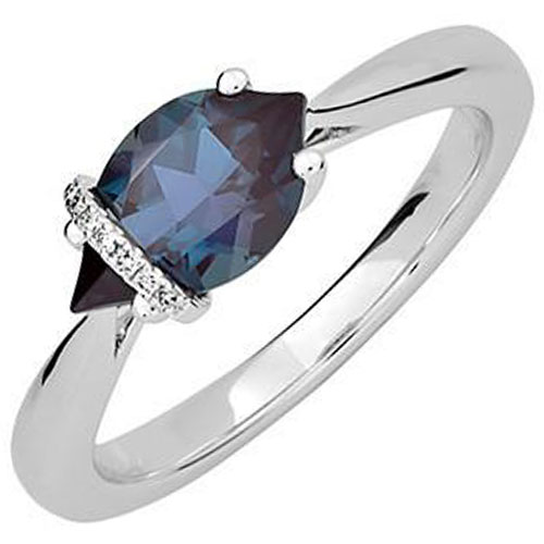 14K White Gold Chatham Created Alexandrite and Diamond Ring