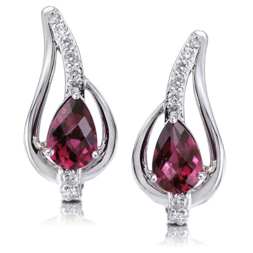 14K White Gold Rhodolite Garnet & Diamond Earrings